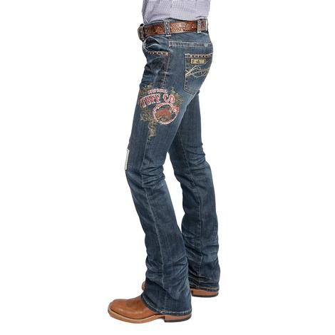 Cowgirl Tuff Womens Patched Medium Wash Jeans