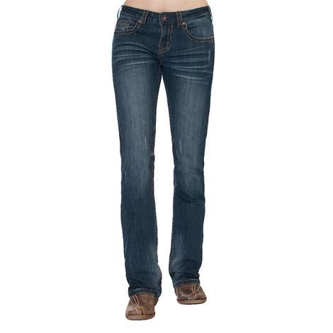 Cowgirl Tuff Women's Peacemeker Brown Stitch Arrow Pocket Jean