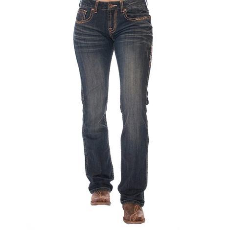 Cowgirl Tuff Womens Coral Western Denim Jeans