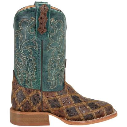 Anderson Bean Kids' Angry Bird Turquoise & Brown Patchwork Boots