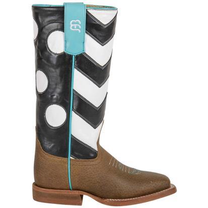 Anderson Bean Girls Black Chevron Polka Dot Western Cowboy Boots