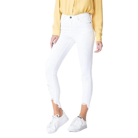 Kancan Gemma High Rise Ankle White Skinny Jeans for Women