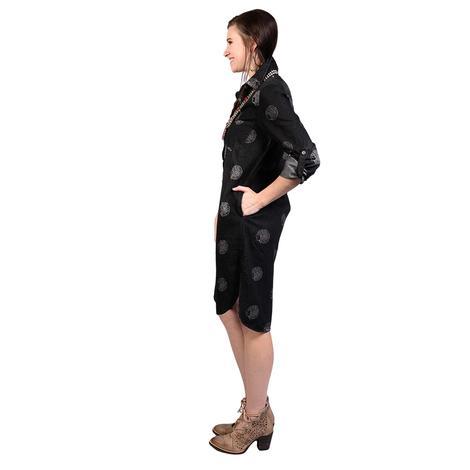 Womens Black Denim Button Down Chief Dress