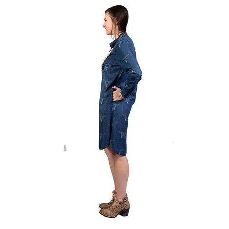 Womens Denim Button Down Steerhead Dress