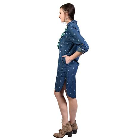 Womens Denim Cactus Print Button Down Dress