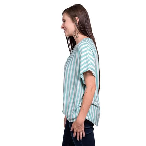 Womens Mint and White Striped Jersey Top with Tie Front Shirt