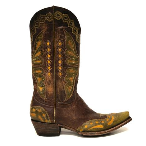 Old Gringo Womens Green Brass Monarca Butterfly Cowgirl Boots
