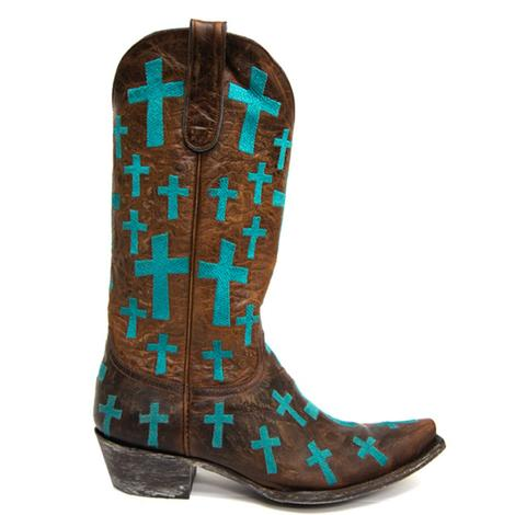 Old Gringo Womens Brass Leather Turquoise Cross Boots