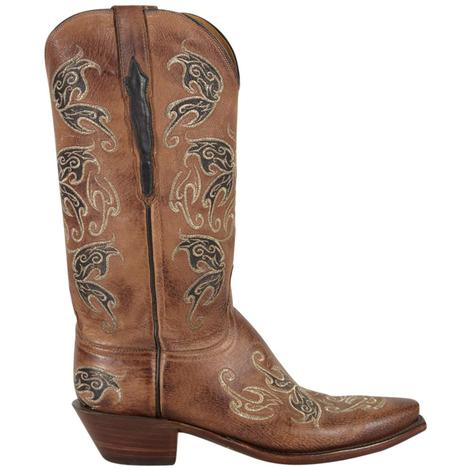 Lucchese Womens Burnished Nutmeg Pig Leather Western Boots
