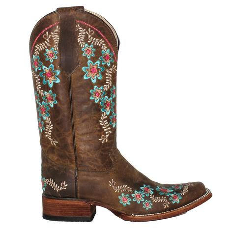 Circle G Womens Tan Floral Embroidery Boots
