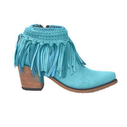 Liberty Black Turquoise Fringe Women's Boots