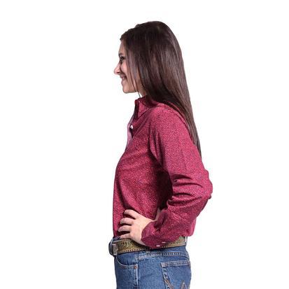 Wrangler Womens George Strait Red & Navy Print Shirt