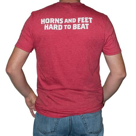 Let's Rope Horns and Feet Hard to Beat Red Tee