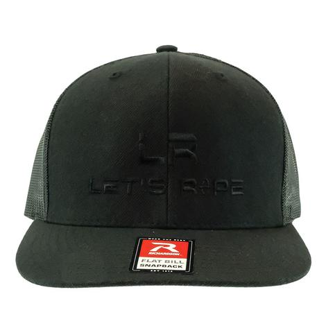 Let's Rope Black Flat Bill Logo Meshback Cap