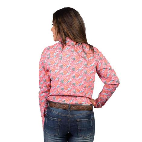 Wrangler Womens Pink and Turquoise Floral Snap Long Sleeve Shirt