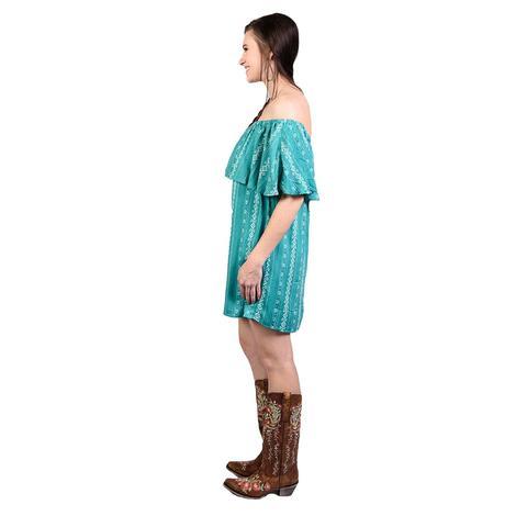 Wrangler Womens Turquoise Ruffle Aztec Dress