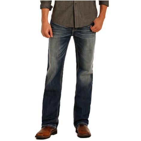 Rock &Roll Cowboy Mens Double Barrel Straight Leg Reflex Dark Vintage Jeans