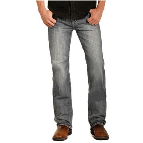 Rock & Roll Cowboy Mens Double Barrel Straight Leg Medium Wash Jeans
