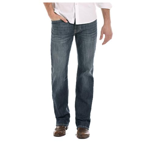 Rock and Roll Cowboy Mens Dark Wash Double Barrel Straight Leg Jeans