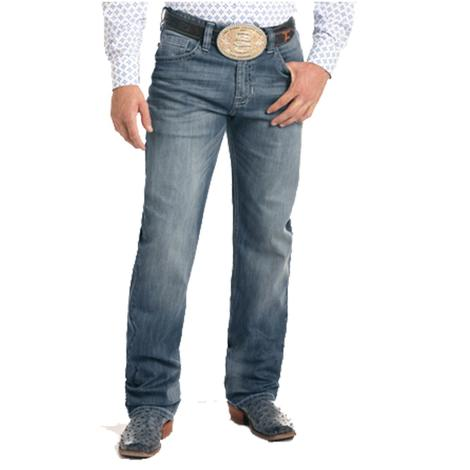 Panhandle Slim Mens Tuf Cooper Competition Fit Reflex Medium Wash Jeans