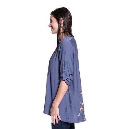 Womens Pleated Button Front Midnight Blue Floral Back Shirt