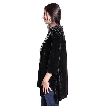 Womens Black Velvet Floral Embroidered Tunic