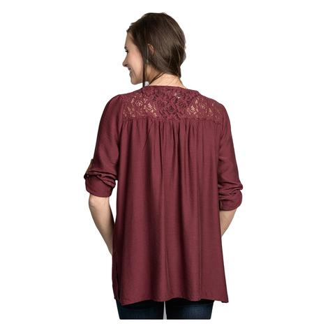Womens Burgundy Floral Embroidered Mid-Sleeve Top