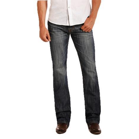Rock & Roll Cowboy Mens Pistol Straight Leg Dark Vintage Wash Jean