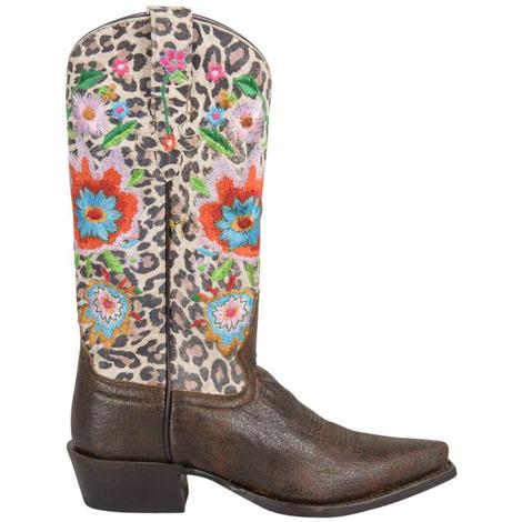 Macie Bean Womens Snow Leopard Smokey and the Bandit Western Boots