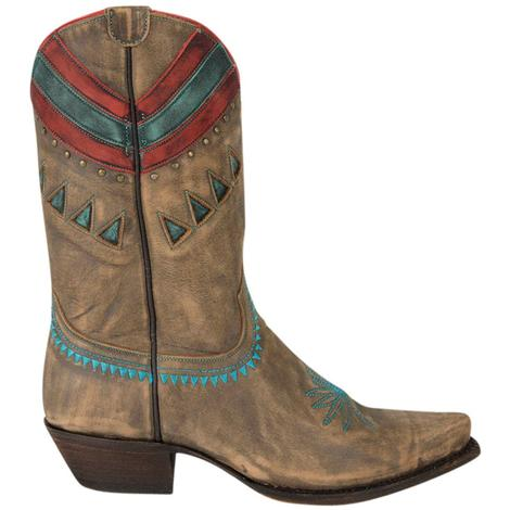 Caborca Womens Bovine Vintage Canelo Western Boots