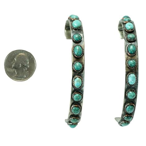 Sterling Silver Oval Turquoise Studded Large Hoop Earrings