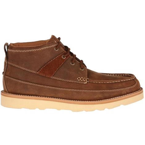 Twisted X Mens Oiled Brown Leather Boots - Moc Toe