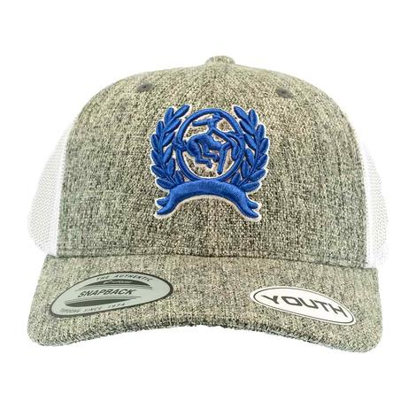 Cinch Flexfit Heather Grey with Blue Logo Boy's Cap