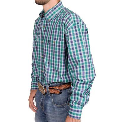 Wrangler George Strait Mens Long Sleeve Green Western Shirt