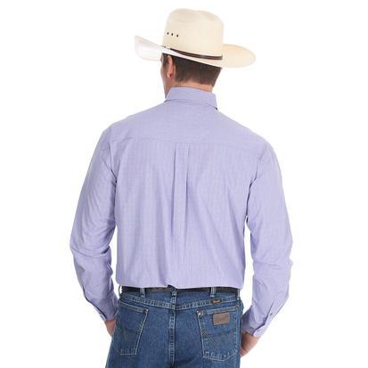 Wrangler George Strait Mens Purple Plaid Long Sleeve Shirt