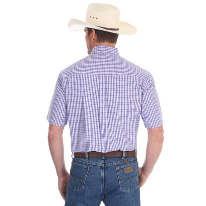Wrangler Mens George Strait Purple Plaid Short Sleeve Shirt