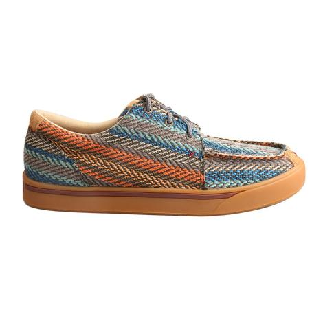 Twisted X Mens Hooey Casual Blue Orange Twill Tie Shoe