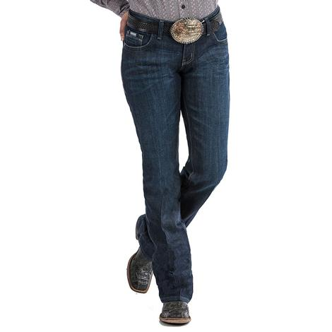 Cinch Womens Ada Dark Wash Mid Rise Relaxed Fit Jeans