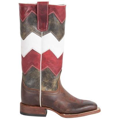 Macie Bean Girls Chevron Moka Show Steer Chevron Western Boots