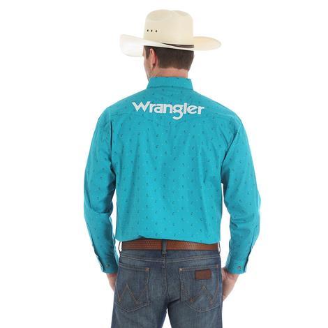 Wrangler Mens Logo Turquoise Long Sleeve Snap Shirt