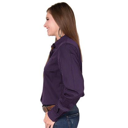 Cinch Womens Long Sleeve Purple Striped Button Down Shirt