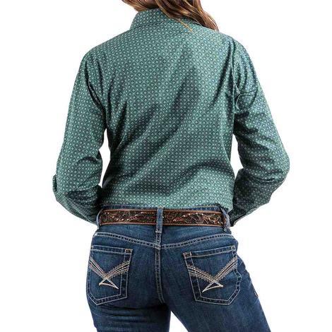 Cinch Green and White Pattern Long Sleeve Women's Button Down Shirt