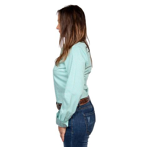 Cinch Womens Turquoise Plaid Long Sleeve Button Down Shirt