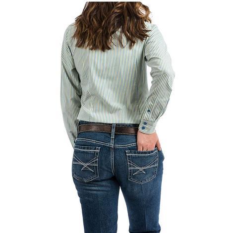 Cinch Blue, Green and White Pin Stripe Long Sleeve Button Down Women's Shirt