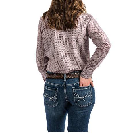 Cinch Pink Dark Red Print Long Sleeve Women's Snap Shirt