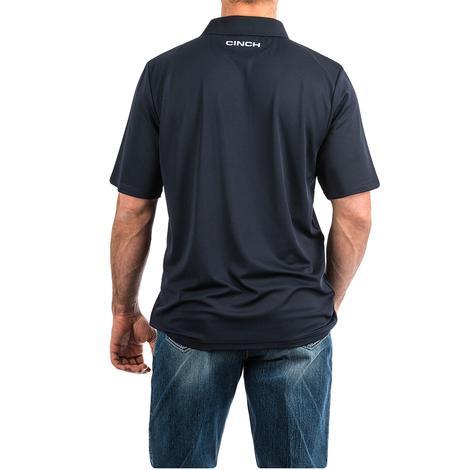 Cinch Navy Embossed Print Short Sleeve Men's Polo Shirt