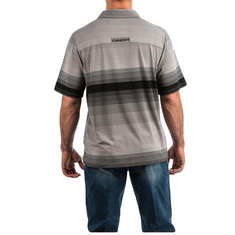 Cinch Grey Black Stripe Short Sleeve Men's Polo Shirt