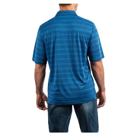 Cinch Blue Stripe Short Sleeve Men's Polo Shirt