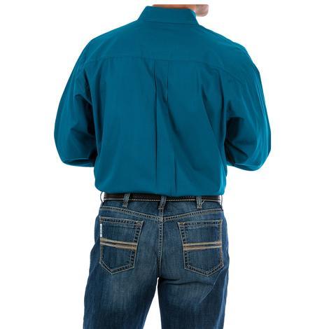 Cinch Mens Dark Teal Solid Long Sleeve Button Down Shirt
