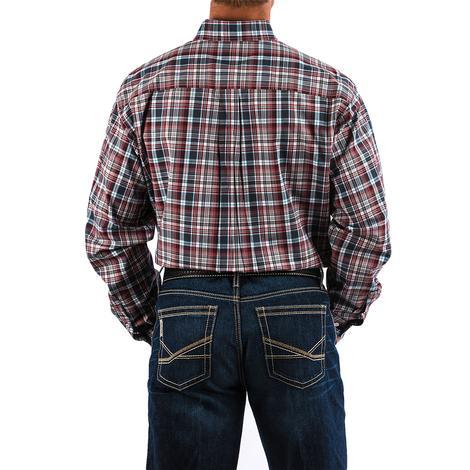 Cinch Mens Maroon Grey Blue Plaid Long Sleeve Button Down Long Sleeve Shirt